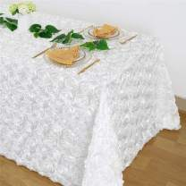 Fanqisi White Rosette Tablecloth Satin Raised Rosettes 50x102 Inches Rectangle 3D Floral Tablecloth Wedding Valentine's Day Baby Shower Party Cake Table Dining Room Table Linens