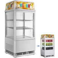 VBENLEM 58L Countertop Display Refrigerator, 2cu. ft. Capacity Commercial Beverage Cooler,Detachable Light Box with LED Lighting,Adjustable Shelves,White,for Supermarket Bar Office,32-53.6℉