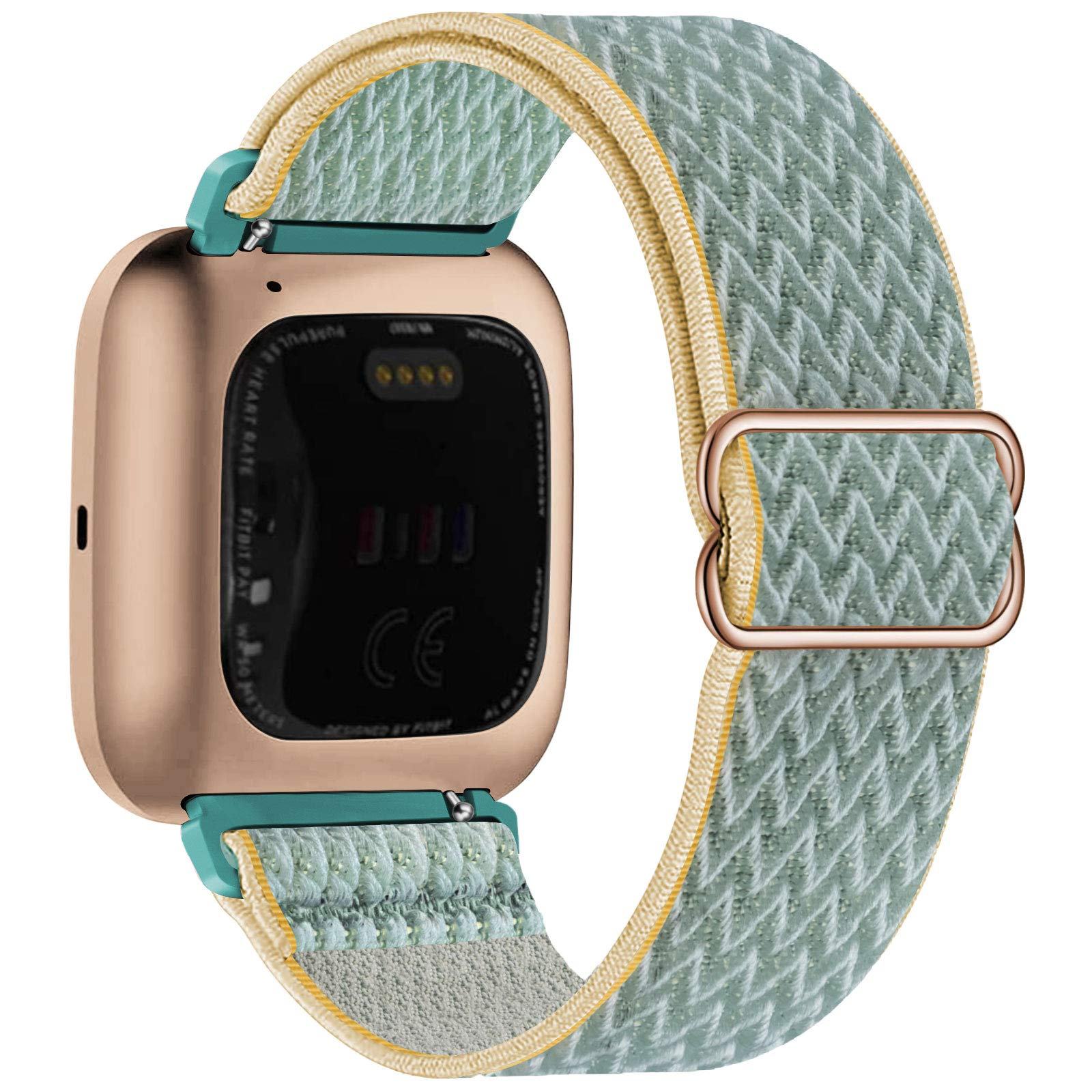 UHKZ Stretchy Nylon Bands Compatible with Fitbit Versa/Versa 2/Versa Lite/Versa SE for Women Men,Adjustable Breathable Fabric Sport Elastic Wristband for Fitbit Versa Smart Watch