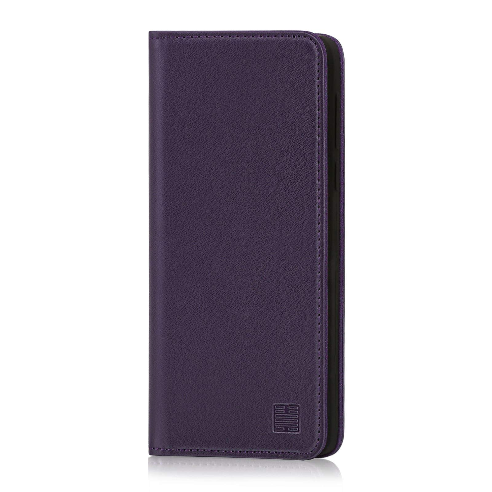 32nd Classic Series - Real Leather Book Wallet Case Cover for Motorola Moto G7 & Moto G7 Plus, Real Leather Design with Card Slot, Magnetic Closure and Built in Stand - Aubergine
