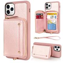 LAMEEKU Wallet Case for iPhone 11 Pro, Zipper Leather Case with Credit Card Holder Slot Wrist Strap, Anti-Scratch Shock Absorption Cover Case for iPhone 11 Pro 5.8 inch 2019 (Rose Gold)