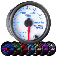 """GlowShift White 7 Color 260 F Transmission Temperature Gauge Kit - Includes Electronic Sensor - White Dial - Clear Lens - for Car & Truck - 2-1/16"""" 52mm"""
