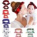 6 Sets 6 Colors Mommy and Me Headbands Hair Band Bow Knot Headbands Baby Hair Accessories Turban Baby and Mommy Cotton Headwrap Set 2 Pcs (6 sets)
