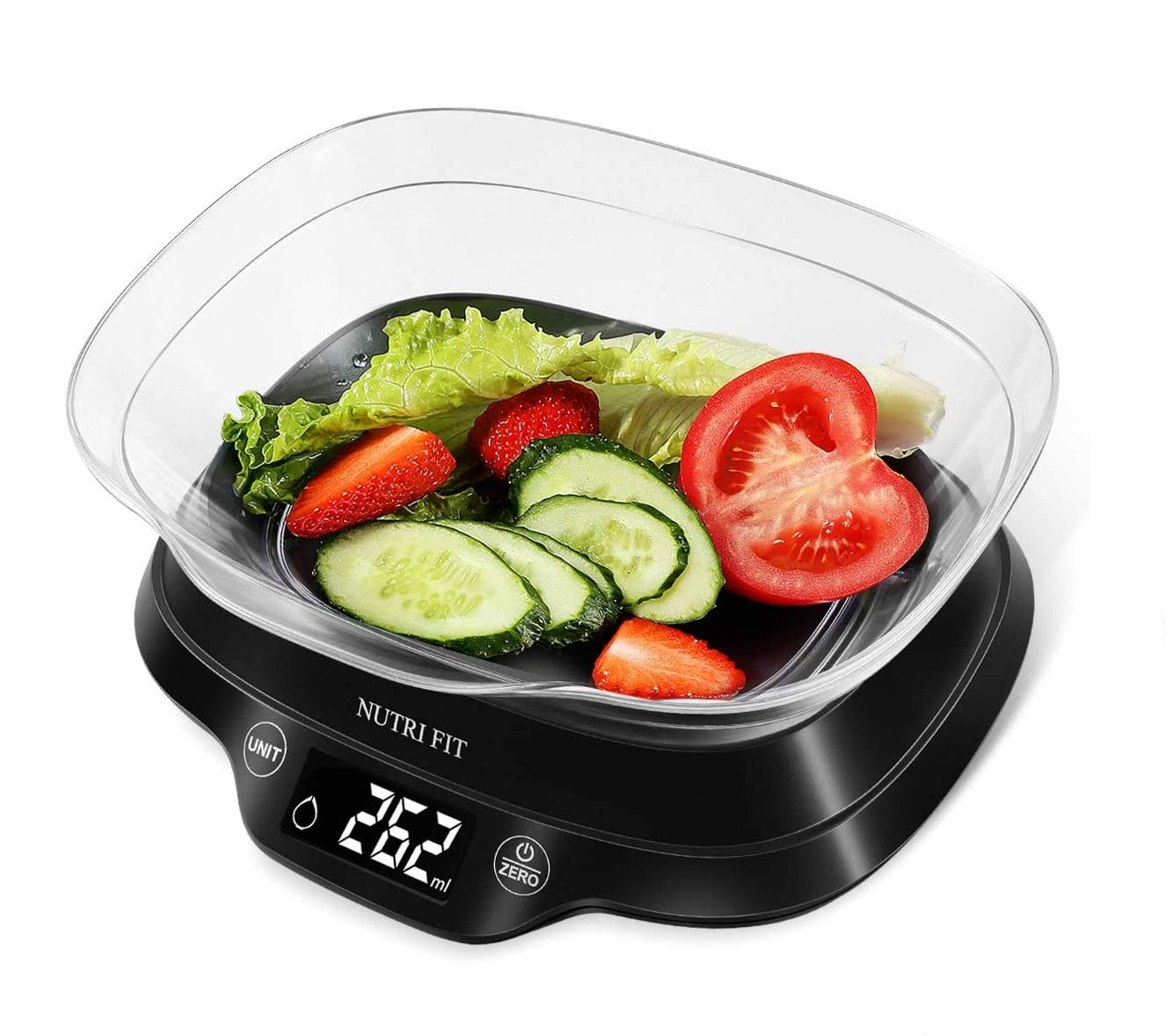 NUTRI FIT Digital Food Scale with Removable Bowl for Baking Cooking Dieting Max 11lb 0.1g Grams Backlight LCD Display Precise Weighting (Batteries Included)-Black