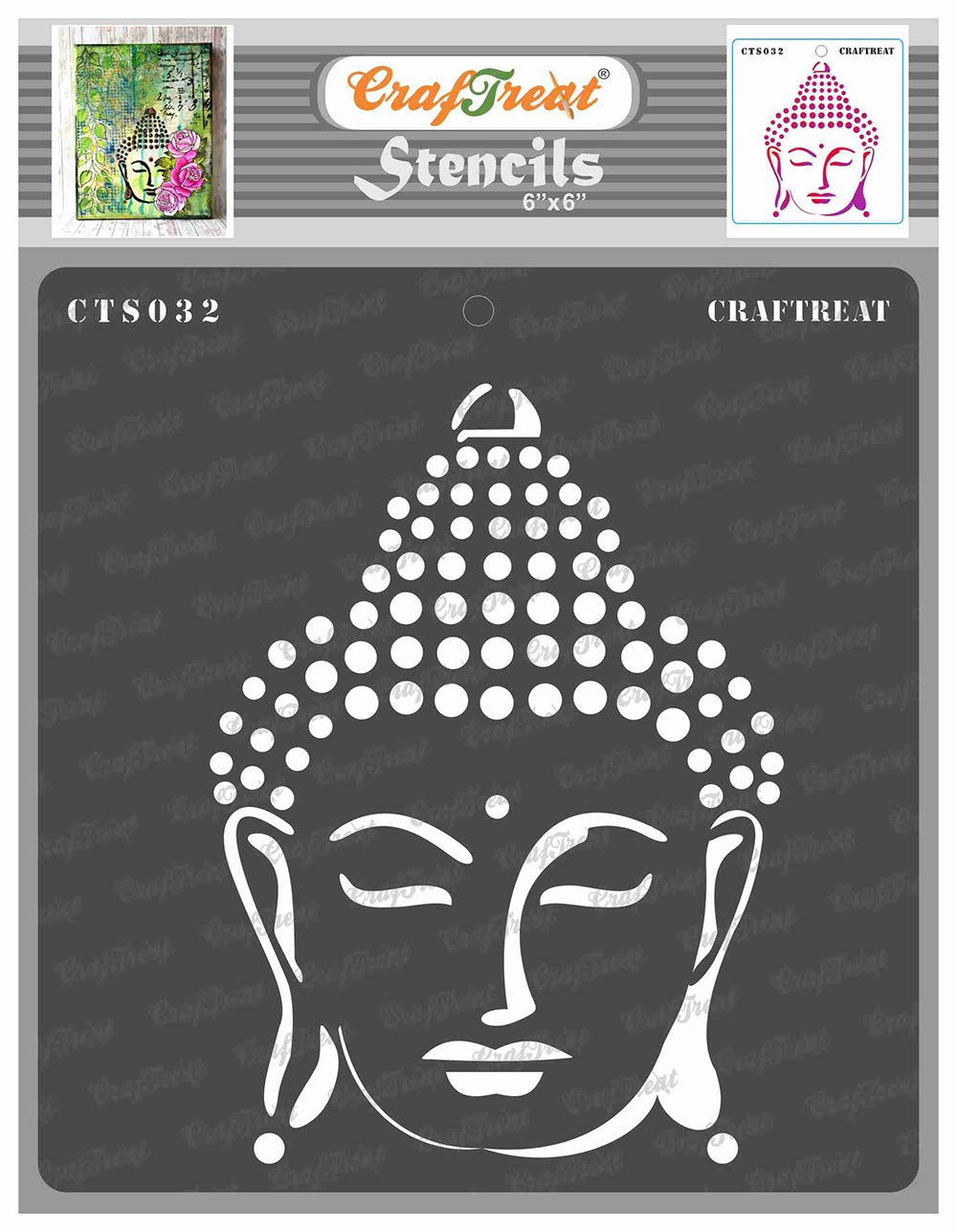 CrafTreat Buddha Stencils for Painting on Wood, Canvas, Paper, Fabric, Floor, Wall and Tile - Buddha - 6x6 Inches - Reusable DIY Art and Craft Stencils for Home Décor - Buddhist Stencil