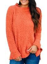 Asvivid Womens Cozy Popcorn Color Block Crewneck Sweater Long Sleeve Loose Pullover Jumper Tops