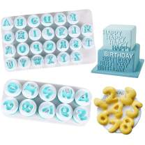 Alphabet Letter Numbers Cake Mould Set, BENBO 36Pcs Fondant Cake Sugar Craft Cookies Stamp Impress Embosser Plunger Cookie Cutter Mold Biscuit Decorating Tools