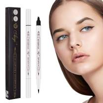 2 Pack Chestnut Eyebrow Pencil Microblading with a Micro Fork Tips + Black Liquid Eyeliner/Waterproof Stays on All Day for Eyes Makeup