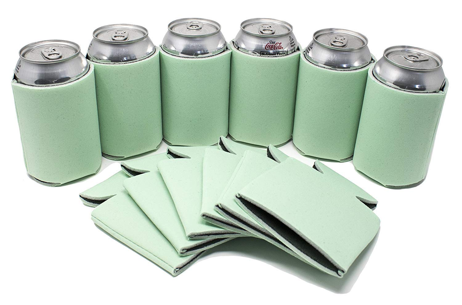 TahoeBay 12 Blank Beer Can Coolers, Plain Bulk Collapsible Soda Cover Coolies, DIY Personalized Sublimation Sleeves for Weddings, Bachelorette Parties, Funny HTV Party Favors (Mint, 12)