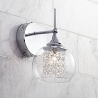 "Crystal Rainfall Modern Wall Light Sconce Chrome Hardwired 10"" High Fixture Clear Glass Crystal Accents for Bedroom Bathroom Hallway - Possini Euro Design"