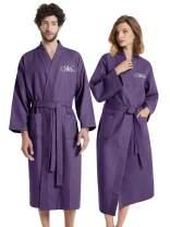 AW BRIDAL Cotton Lightweight Bathrobe Long His Hers & Mr Mrs Couple Waffle Kimono Unisex Spa Robe
