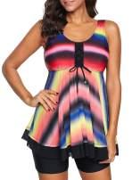 Chase Secret Womens Racerback Color Block Print Tankini Mesh Ruffle Swimsuit with Boyshorts Bathing Suit