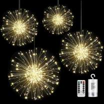 4 Pack Firework Lights led Copper Wire Starburst String Lights 8 Modes Battery Operated Fairy Lights with Remote,Decorative Hanging Lights for Party Patio Bedroom Christmas Decoration (4, warm white)