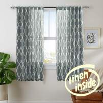 "jinchan Moroccan Tile Print Curtains for Bedroom Curtain Quatrefoil Flax Linen Blend Textured Geometry Lattice Rod Pocket Window Treatment Set for Living Room 2 Panels 50"" W x 72"" L Charcoal Grey"