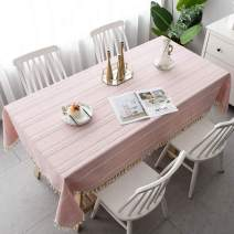 Pahajim Table Cloth Cotton Linen Tablecloth Wrinkle Free Stitching Tassel Tablecloth Rectangle Table Cloth for Dinning Kitchen Tabletop Decoration (Light Pink, Rectangle/Oblong,55 x 79 Inch)