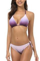 Wetopkim Women Halter Stripe Bikini Swimsuit Triangle Slide Bikini Swimwear Wirefree