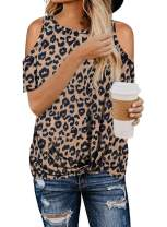 Asvivid Womens Leopard Print Cut Out Cold Shoulder Tops Short Sleeve Twist Blouses and Tops