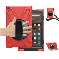 TSQ Fire HD 10 Tablet Case 2018 with Hand Strap, Dropproof High Impact Resistant Hard Bumper Plastic Case with Swivel Stand&Shoulder Strap for Amazon Kindle Fire HD 10.1 Inch 2018/2017/2019 Model,Red