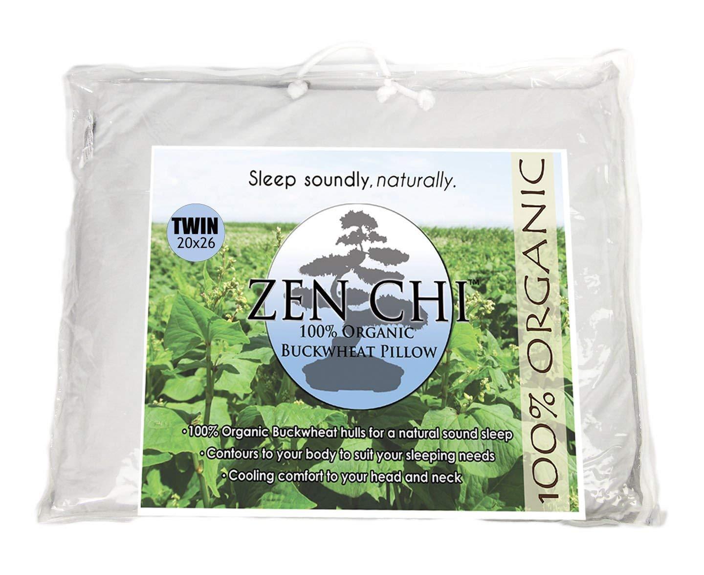 "ZEN CHI Buckwheat Pillow- Organic Twin Size (20""X26"") w Natural Cooling Technology- All Cotton Cover w Organic Buckwheat Hulls"