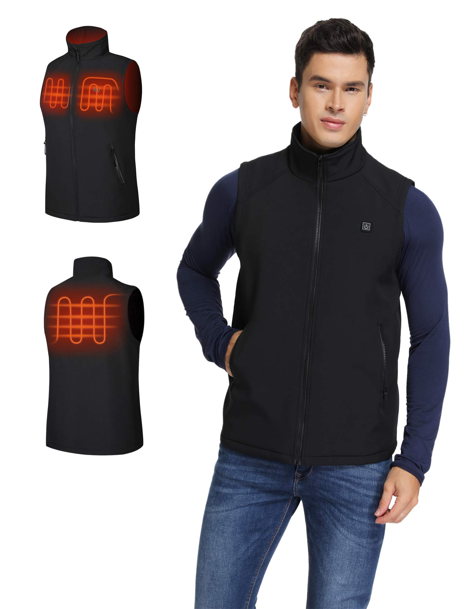 Aoymay Men's Lightweight Heating Vest 5V Electric Heated Vest with Battery Pack (S-XXL)