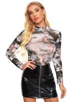 SweatyRocks Women's Long Sleeve Mock Neck Angel Print Sexy Sheer Mesh T Shirt Tops Grey #1 L