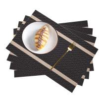 Pahajim Placemat, Heat-Resistant Placemats Stain Resistant Anti-Skid Washable PVC Table Mats Woven Vinyl Placemats (B Coffee-Gold, 4pcs placemats)