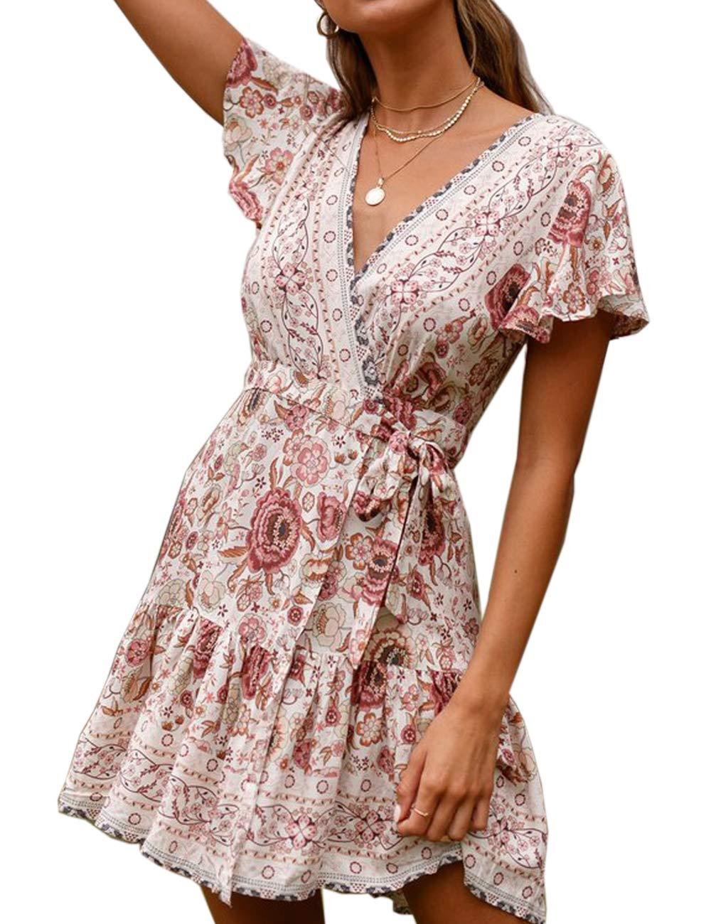 Women's Dresses Summer Bohemian Floral Wrapped Hem V-Neck Dress Beach Coverup
