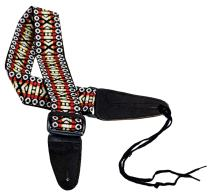 Performance Plus GS3-RY Woven Tapestry Electric/Acoustic Silver Guitar Strap Includes Ties for Acoustic Guitars