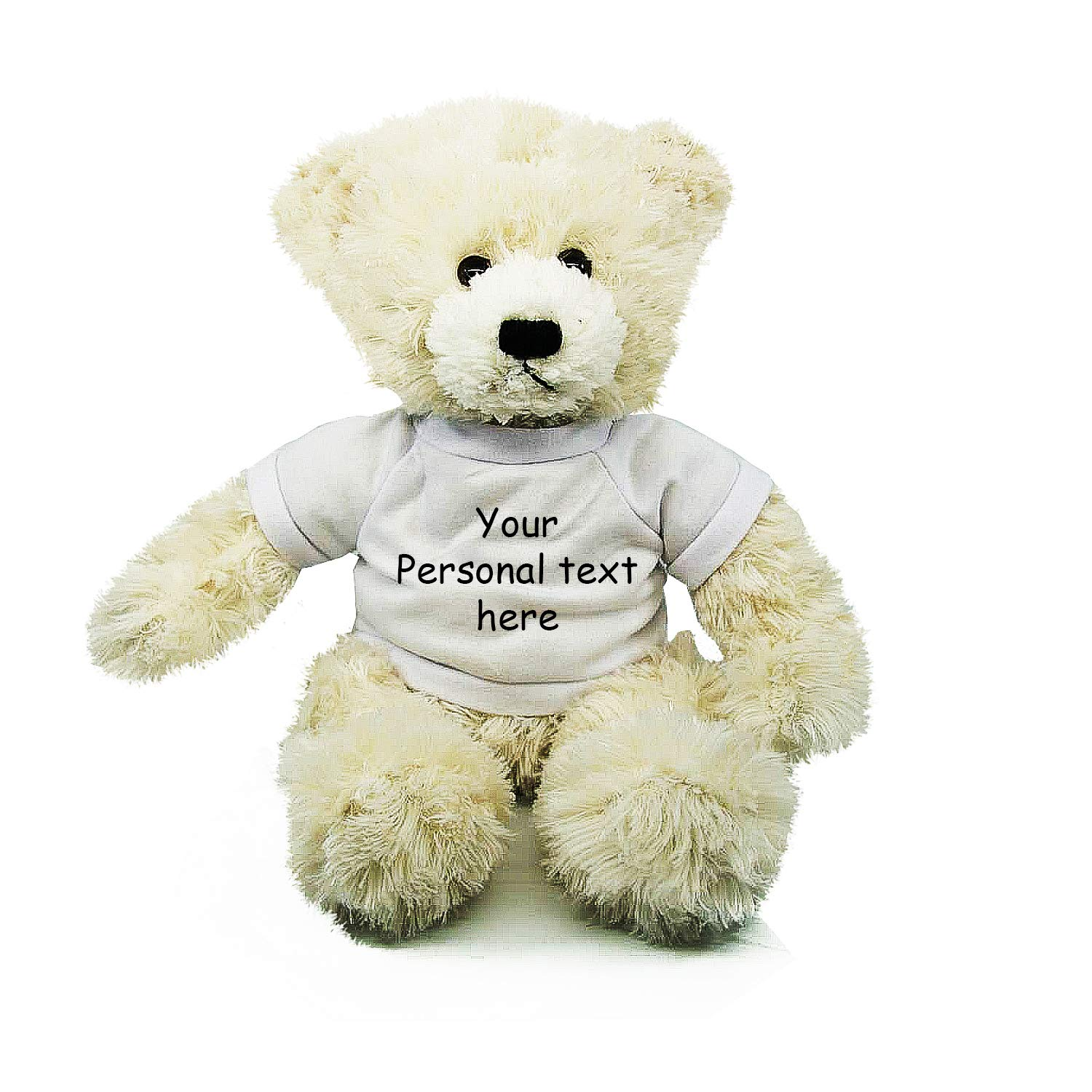 Plushland Cream Brandon Teddy Bear 12 Inch, Stuffed Animal Personalized Gift - Custom Text on Shirt - Great Present for Mothers Day, Valentine Day, Graduation Day, Birthday (White Shirt)