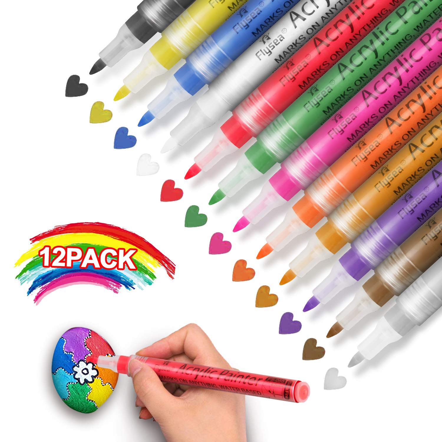 Acrylic Paint Marker Pens - Set of 12 Colors Water Based for Rock Painting, Stone, Glass, Wood, Paper Decoration,Custom Mug Design,DIY Project, Gifts for Kids (12 Colors)