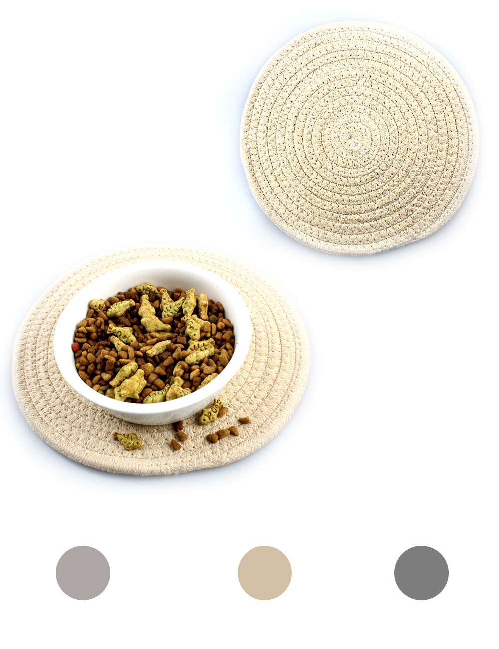 """Ptlom Dog and Cat Medium and Small Placemat, Pet Food and Water Mat Suitable for Medium and Small Pets, Prevent Water and Food from Spilling, Cotton, 9.5"""" 9.5"""", Khaki"""