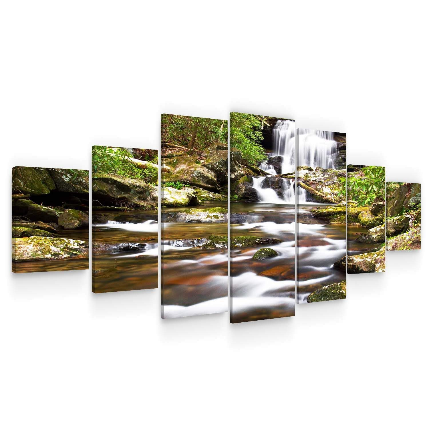 Startonight Huge Canvas Wall Art - Waterfall in The Forest Large Framed Set of 7 40 x 95 Inches