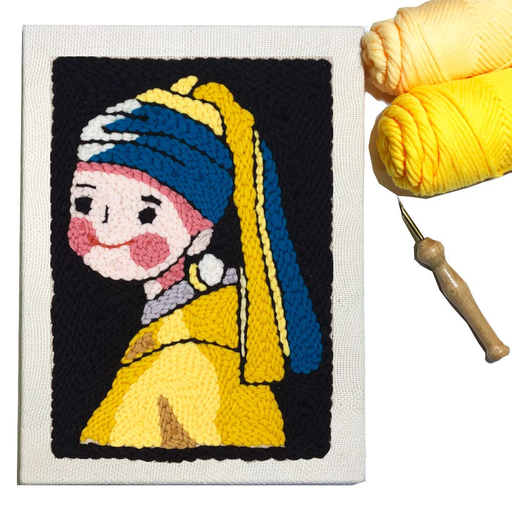 Wool Queen Punch Needle Kit/Rug Yarn Hooking Beginner Kit,14''x10'' with Wooden Punch Pen - Girl with a Pearl Earring