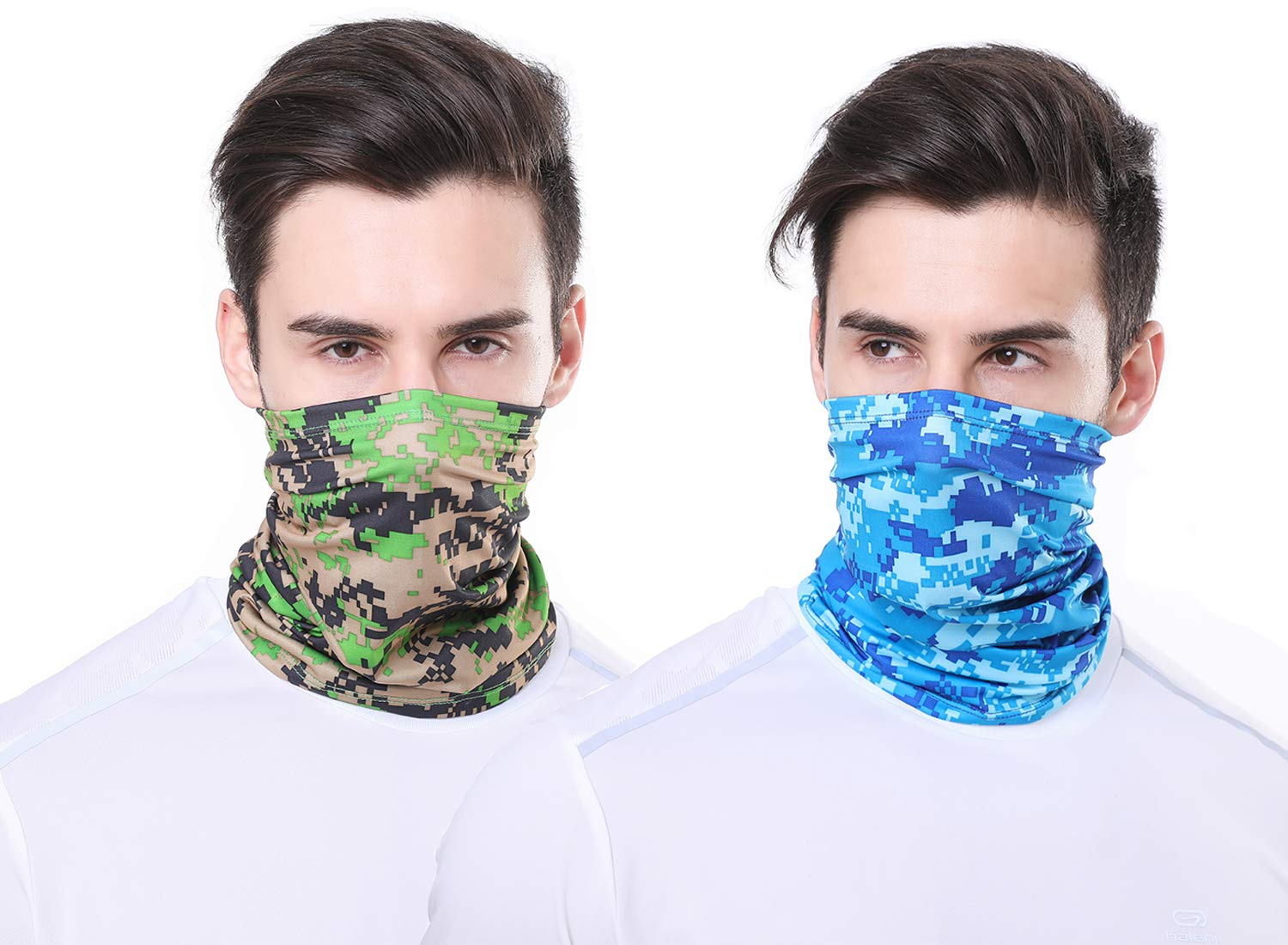 CHICONN 2Pack Ice Cooling Blue Army Green Camouflage Fishing Ski Face Mask Rave Camo Neck Scarf Bandanas for Dust, Sun block,Parade,Outdoors, Festivals,Cycling
