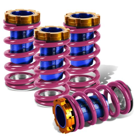 Purple Spring, Black Sleeve, Black Perch Replacement for Civic//CRX//Del Sol//Integra Aluminum Scaled Coilover Kit