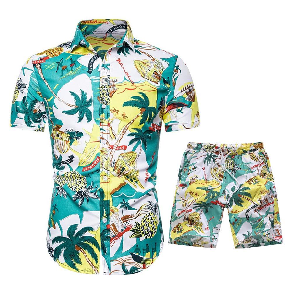 Men's Floral Tracksuit Summer 2 Piece Short Sleeve Shirt and Shorts Jogging Sweatsuit