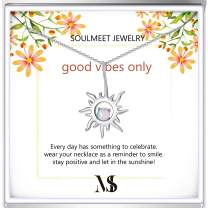 SOULMEET Good Vibes Only Christmas Birthday Sterling Silver Sun Necklace Gifts for Daughter Mom Sisters Friends with Simulated Opal