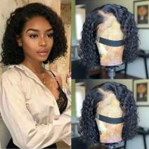 Maxine Brazilian Lace Front Wigs Water Wave Human Hair Pre-Plucked Natural Color Wet and Wavy Human Hair Wig 130% Density Pre-Plucked with Baby Hair 10 inch