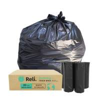 Reli. EcoStrong 50 Gallon Trash Bags (80 Count) Eco-Friendly Recyclable, Black 50 Gallon Garbage Bag - Made From Recycled Material - Recyclable Garbage Bags 40 Gal - 45 Gal Compatible
