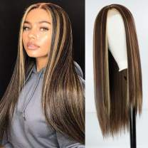 XINRAN Long Blonde and Brown Wigs for Black Women,30inch Long Mix Brown Straight Highlight Wigs for Women,Cosplay Long Straight Synthetic Brown Wig