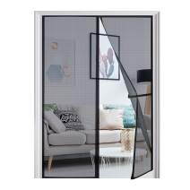 "[Upgraded Version] Magnetic Screen Door 74""x81"", Homitt Durable Fiberglass Mesh Curtain, Magnet Patio Door with Full Frame Hook & Loop, Auto Closer Fits Door Size up to 72""x80"" Max- Black"