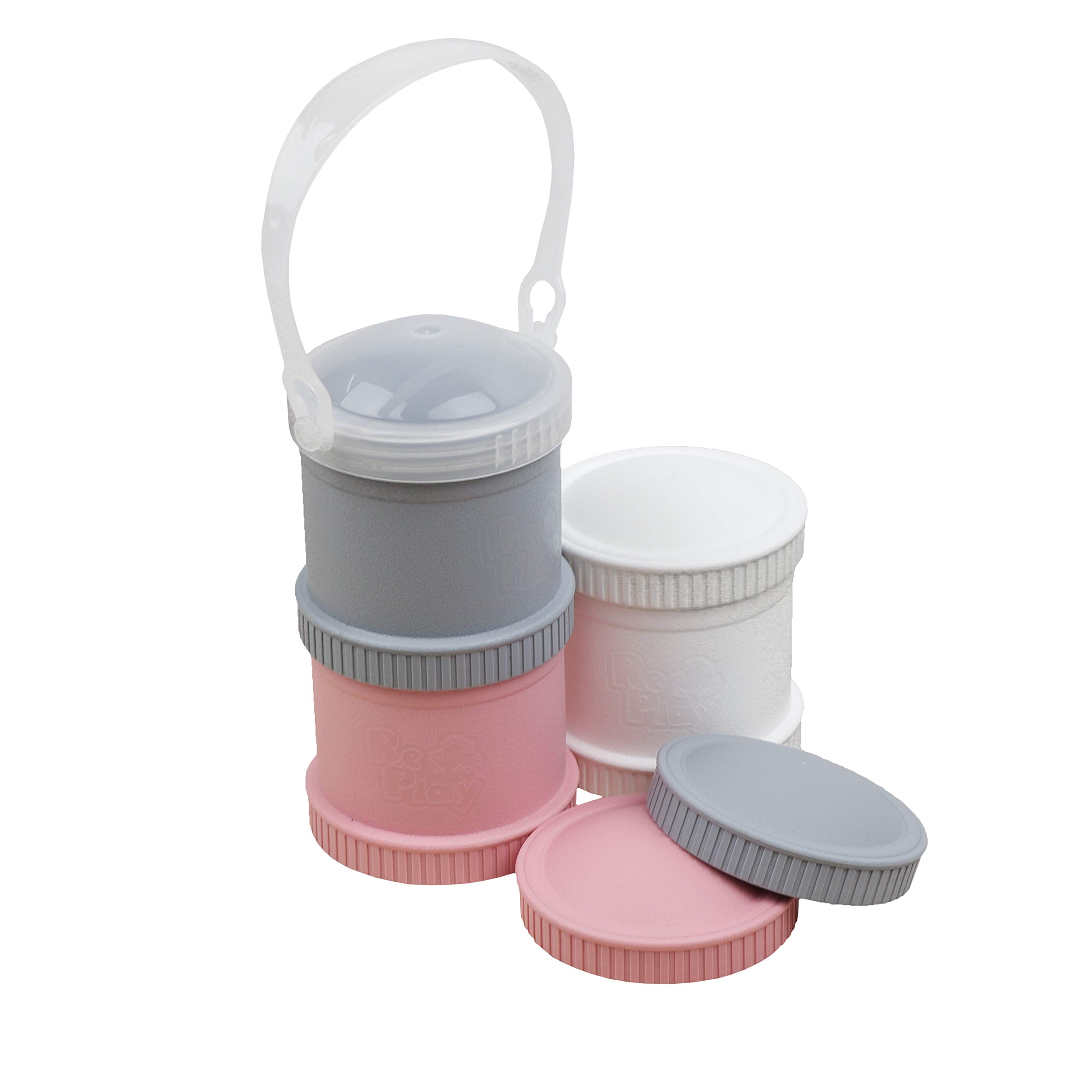 Re-Play Made in The USA 7 Piece Stackable Food and Snack Storage Containers for Babies, Toddlers and Kids of All Ages (Modern Pink)
