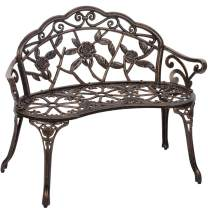 Garden Bench Park Bench Metal Bench Outdoor Benches Patio Yard Bench Floral Rose Accented Bronze
