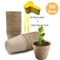 """3"""" Peat Pots Seedling & Herb Seed Starter Pots Kit Plant Starters Recycled Paper Planting 100% Biodegradable and ECO Friendly No Transplant Shock with Free Plant Labels & Garden Tool 60 Pack"""