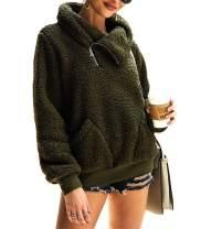 KIRUNDO 2021 Women's Winter Lapel Sweatshirt Faux Shearling Shaggy Warm Leopard Pullover Zipped Up with Pockets Outwear