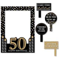 Big Dot of Happiness Adult 50th Birthday - Gold - Birthday Party Selfie Photo Booth Picture Frame & Props - Printed on Sturdy Material