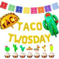 JOYMEMO Mexican 2nd Birthday Party Decorations Taco Twosday Balloons Papel Picado Banner Cake Toppers for Mexican Fiesta Theme Party Supplies