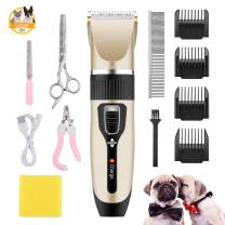 Dog Clippers Low Noise Dog Grooming Clippers Kit Set Professional Dog Hair Trimmer with Detachable Blade Comb Guides Scissors Nail Kits for Small Middle Large Dogs