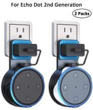 Idealife Echo Dot Wall Mount Outlet Hanger for Echo dot 2nd Generation - Speakers Holder for Dot (2nd Generation Only) Alexa Speaker Mounts with Short Charging Cable, Space-Saving Speaker Hange