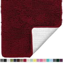 Gorilla Grip Original Luxury Chenille Bathroom Rug Mat, 44x26, Extra Soft and Absorbent Large Shaggy Rugs, Machine Wash Dry, Perfect Plush Carpet Mats for Tub, Shower, and Bath Room, Burgundy
